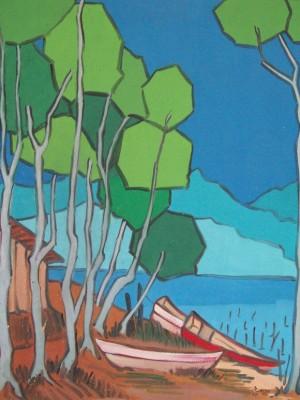 Barco na praia – óleo sobre tela (oil on canvas) by Marrey Peres (1926-1993)