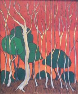 Grande parque em vermelho – óleo sobre tela (oil on canvas) by Marrey Peres (1926-1993)